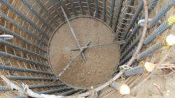Inside of rebar foundation for tower leg